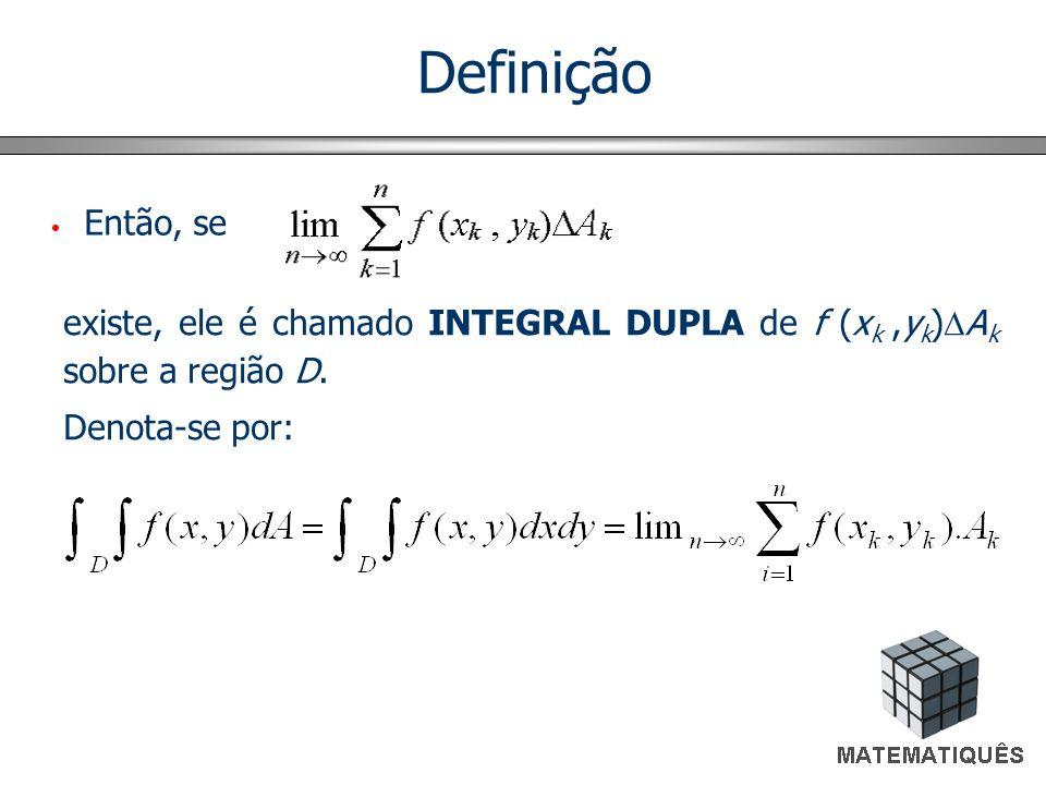 Então, se existe, ele é chamado INTEGRAL DUPLA de f (x k,y k ) A k sobre a região D. Denota-se por: Definição
