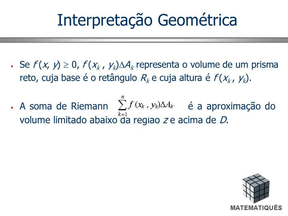 Interpretação Geométrica Se f (x, y) 0, f (x k, y k ) A k representa o volume de um prisma reto, cuja base é o retângulo R k e cuja altura é f (x k, y