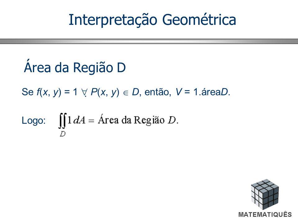 Interpretação Geométrica Se f(x, y) = 1 P(x, y) D, então, V = 1.áreaD. Logo: Área da Região D