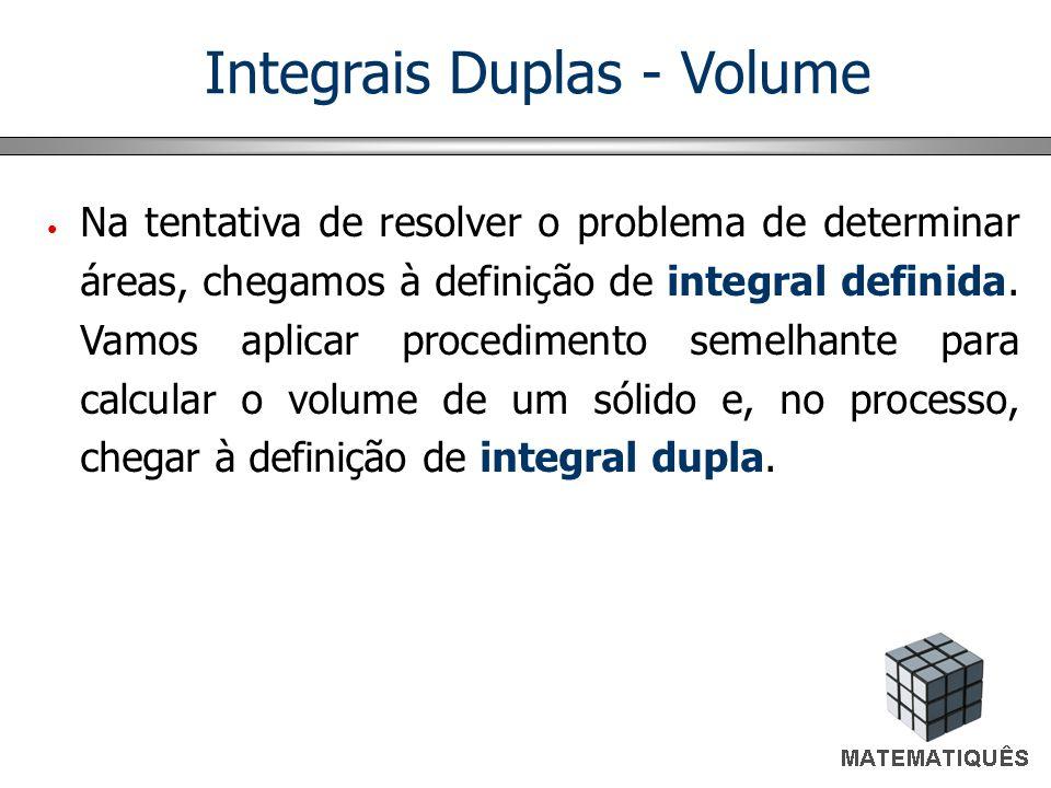 Integrais Duplas - Volume Na tentativa de resolver o problema de determinar áreas, chegamos à definição de integral definida. Vamos aplicar procedimen