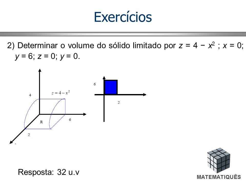 Exercícios 2) Determinar o volume do sólido limitado por z = 4 x 2 ; x = 0; y = 6; z = 0; y = 0. Resposta: 32 u.v