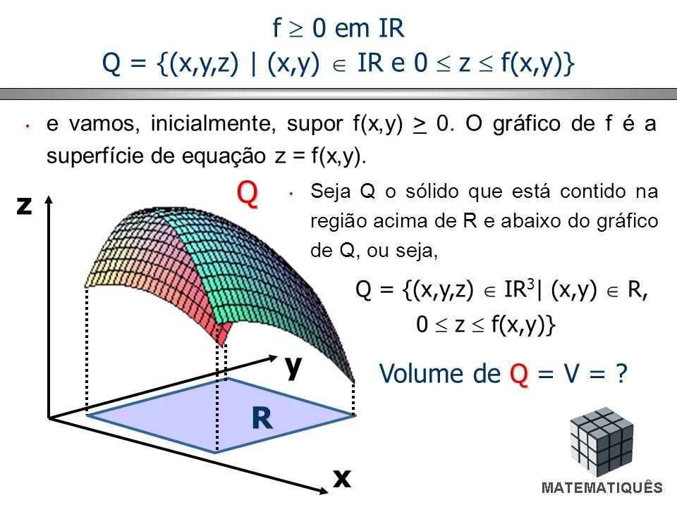 f 0 em IR Q = {(x,y,z) | (x,y) IR e 0 z f(x,y)} x y zQ R Q Volume de Q = V = ? e vamos, inicialmente, supor f(x,y) > 0. O gráfico de f é a superfície