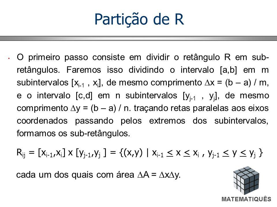 O primeiro passo consiste em dividir o retângulo R em sub- retângulos. Faremos isso dividindo o intervalo [a,b] em m subintervalos [x i-1, x i ], de m
