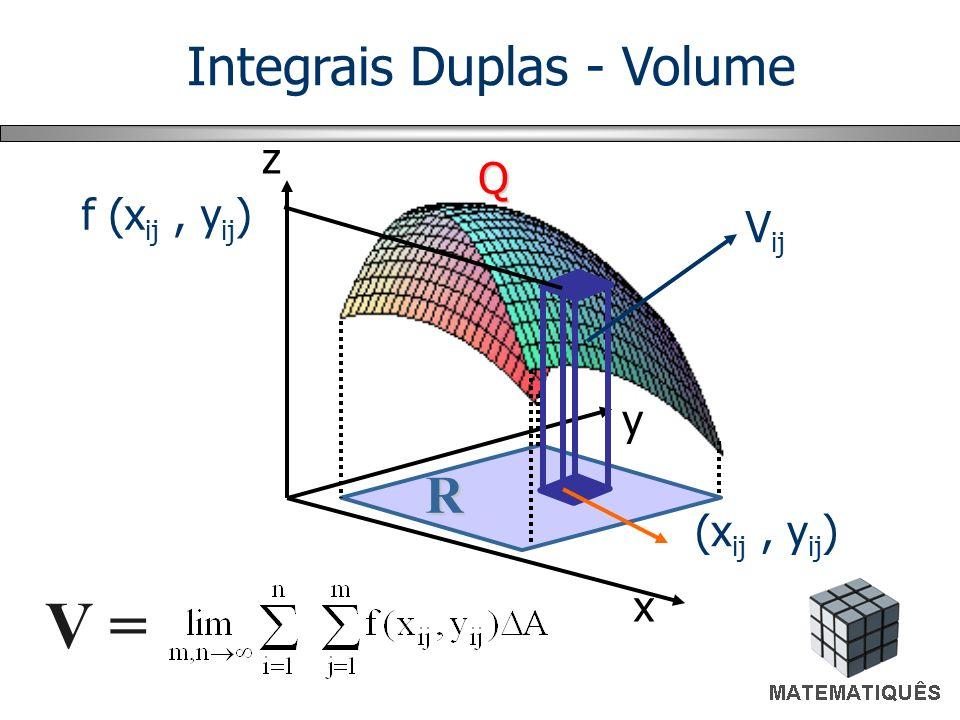 V = x y z Q R f (x ij, y ij ) (x ij, y ij ) V ij Integrais Duplas - Volume