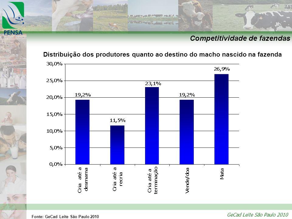 GeCad Leite São Paulo 2010 Competitividade de fazendas Distribuição dos produtores quanto ao destino do macho nascido na fazenda Fonte: GeCad Leite Sã