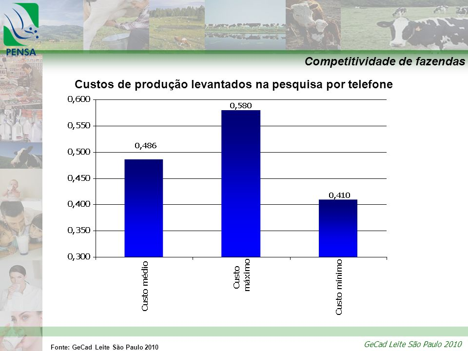 GeCad Leite São Paulo 2010 Competitividade de fazendas Custos de produção levantados na pesquisa por telefone Fonte: GeCad Leite São Paulo 2010