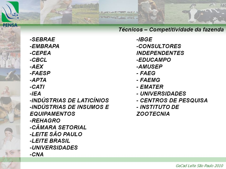 GeCad Leite São Paulo 2010 Técnicos – Competitividade da fazenda -SEBRAE -EMBRAPA -CEPEA -CBCL -AEX -FAESP -APTA -CATI -IEA -INDÚSTRIAS DE LATICÍNIOS