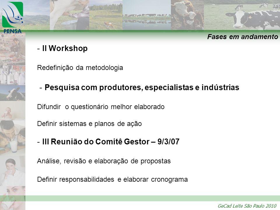 GeCad Leite São Paulo 2010 Fases em andamento - II Workshop Redefinição da metodologia - Pesquisa com produtores, especialistas e indústrias Difundir