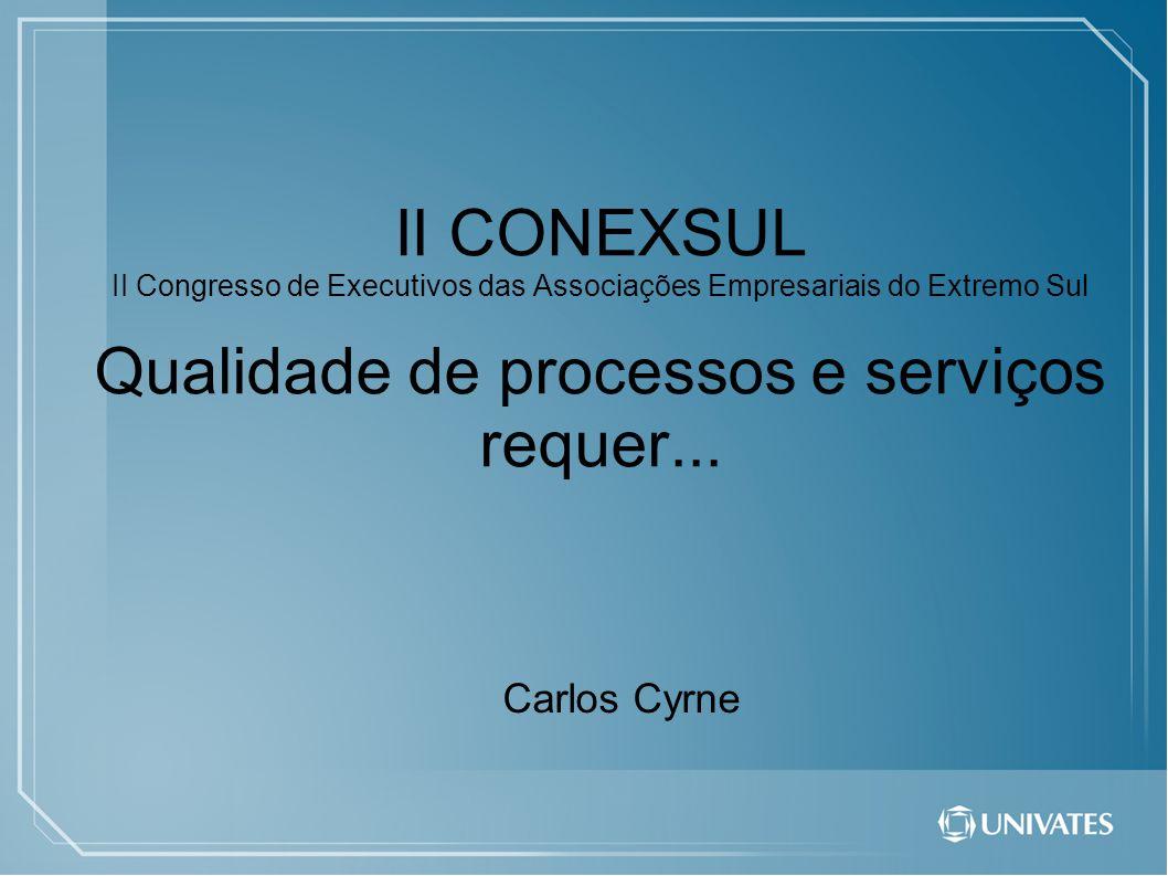 II CONEXSUL II Congresso de Executivos das Associações Empresariais do Extremo Sul Qualidade de processos e serviços requer... Carlos Cyrne