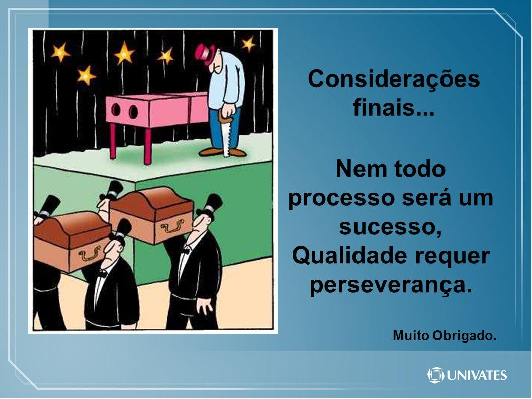 Considerações finais... Nem todo processo será um sucesso, Qualidade requer perseverança. Muito Obrigado.