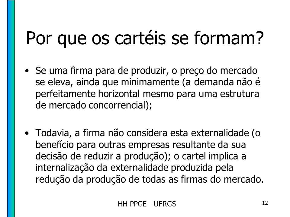 HH PPGE - UFRGS 12 Por que os cartéis se formam.