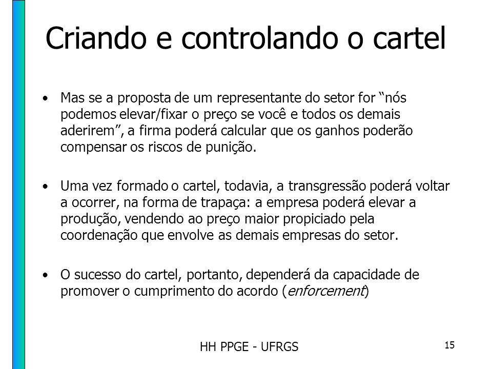 HH PPGE - UFRGS 15 Criando e controlando o cartel Mas se a proposta de um representante do setor for nós podemos elevar/fixar o preço se você e todos os demais aderirem, a firma poderá calcular que os ganhos poderão compensar os riscos de punição.