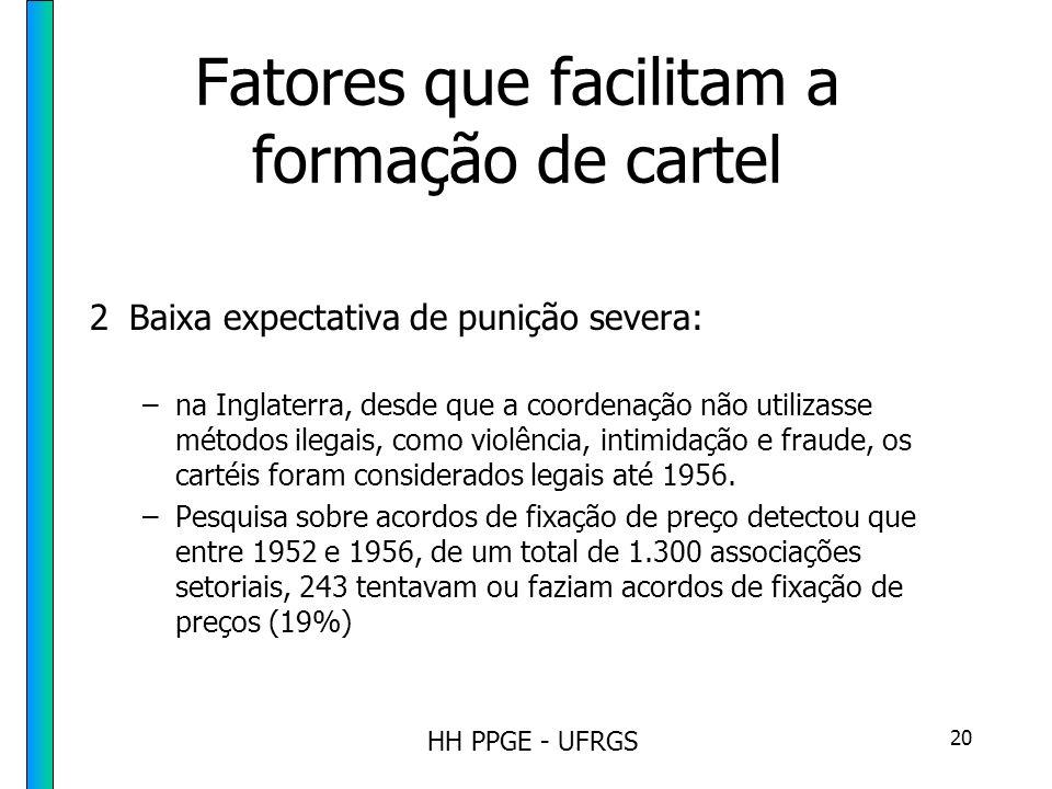 HH PPGE - UFRGS 20 Fatores que facilitam a formação de cartel 2Baixa expectativa de punição severa: –na Inglaterra, desde que a coordenação não utilizasse métodos ilegais, como violência, intimidação e fraude, os cartéis foram considerados legais até 1956.