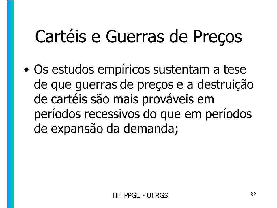 HH PPGE - UFRGS 32 Cartéis e Guerras de Preços Os estudos empíricos sustentam a tese de que guerras de preços e a destruição de cartéis são mais prováveis em períodos recessivos do que em períodos de expansão da demanda;