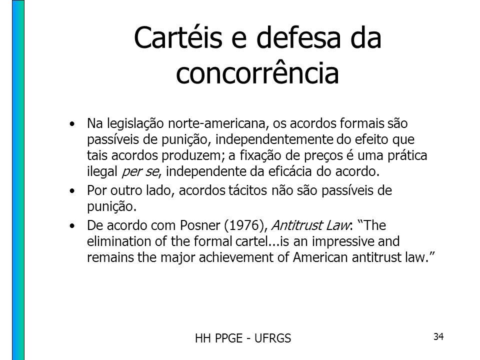HH PPGE - UFRGS 34 Cartéis e defesa da concorrência Na legislação norte-americana, os acordos formais são passíveis de punição, independentemente do efeito que tais acordos produzem; a fixação de preços é uma prática ilegal per se, independente da eficácia do acordo.