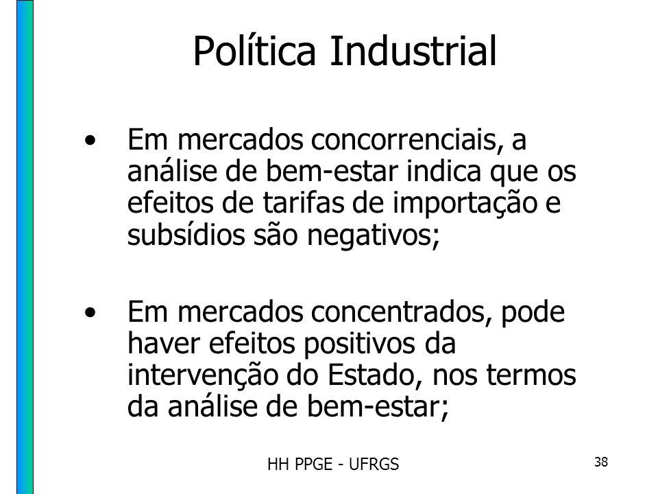 HH PPGE - UFRGS 38 Política Industrial Em mercados concorrenciais, a análise de bem-estar indica que os efeitos de tarifas de importação e subsídios são negativos; Em mercados concentrados, pode haver efeitos positivos da intervenção do Estado, nos termos da análise de bem-estar;