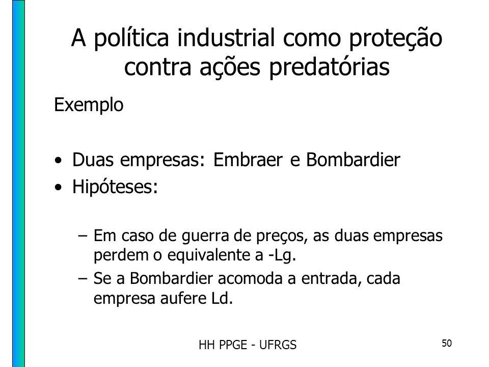 HH PPGE - UFRGS 50 A política industrial como proteção contra ações predatórias Exemplo Duas empresas: Embraer e Bombardier Hipóteses: –Em caso de guerra de preços, as duas empresas perdem o equivalente a -Lg.