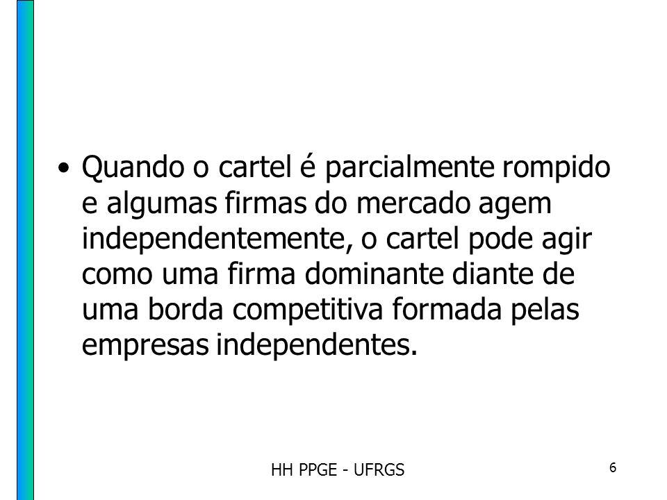 HH PPGE - UFRGS 17 Fatores que facilitam a formação de cartel O estudo de cartéis é limitado pelo fato de que nem todos os cartéis são detectados; os que são detectados, podem ter sido por azar ou por não serem bem sucedidos no acordo.