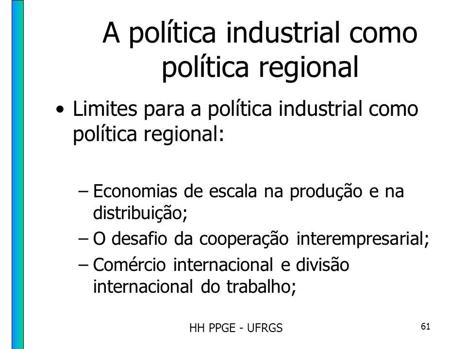 HH PPGE - UFRGS 61 A política industrial como política regional Limites para a política industrial como política regional: –Economias de escala na produção e na distribuição; –O desafio da cooperação interempresarial; –Comércio internacional e divisão internacional do trabalho;