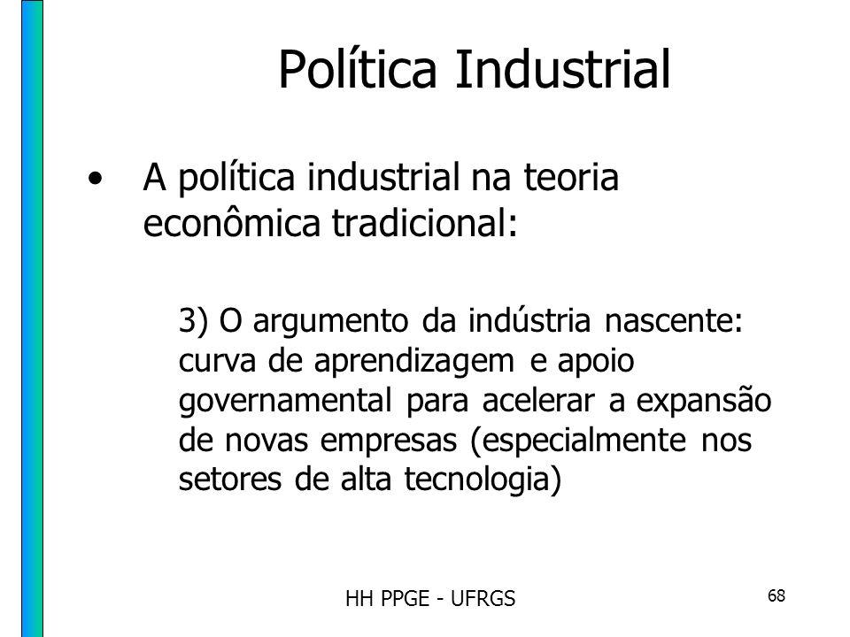 HH PPGE - UFRGS 68 Política Industrial A política industrial na teoria econômica tradicional: 3) O argumento da indústria nascente: curva de aprendizagem e apoio governamental para acelerar a expansão de novas empresas (especialmente nos setores de alta tecnologia)