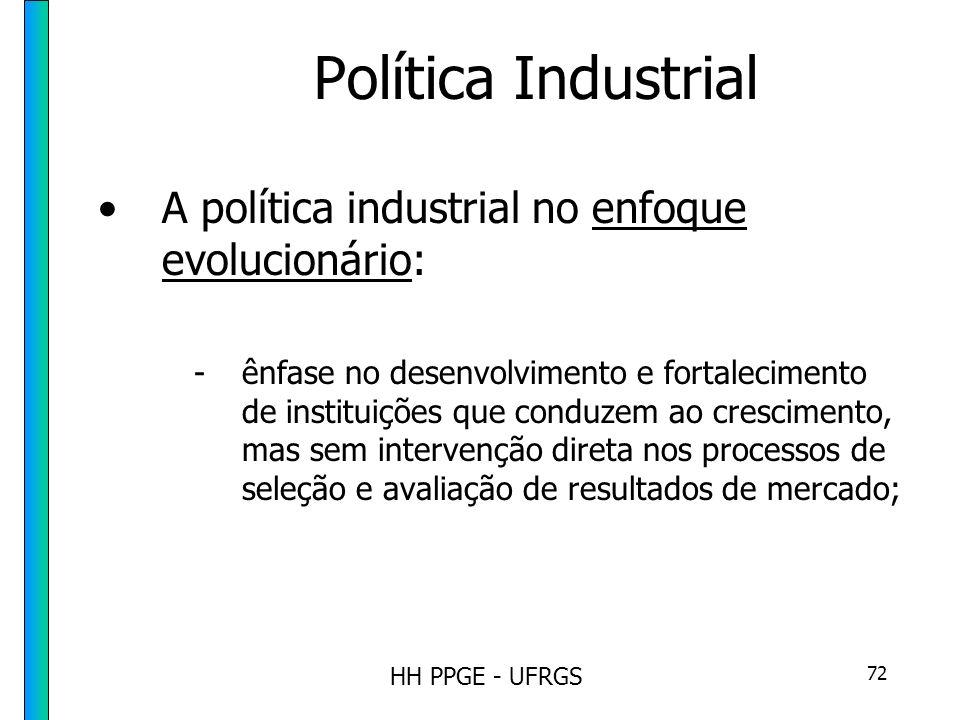 HH PPGE - UFRGS 72 Política Industrial A política industrial no enfoque evolucionário: -ênfase no desenvolvimento e fortalecimento de instituições que conduzem ao crescimento, mas sem intervenção direta nos processos de seleção e avaliação de resultados de mercado;