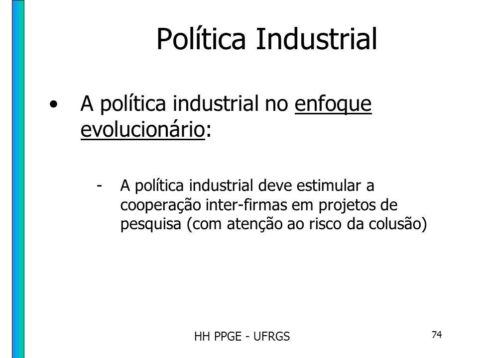 HH PPGE - UFRGS 74 Política Industrial A política industrial no enfoque evolucionário: -A política industrial deve estimular a cooperação inter-firmas em projetos de pesquisa (com atenção ao risco da colusão)