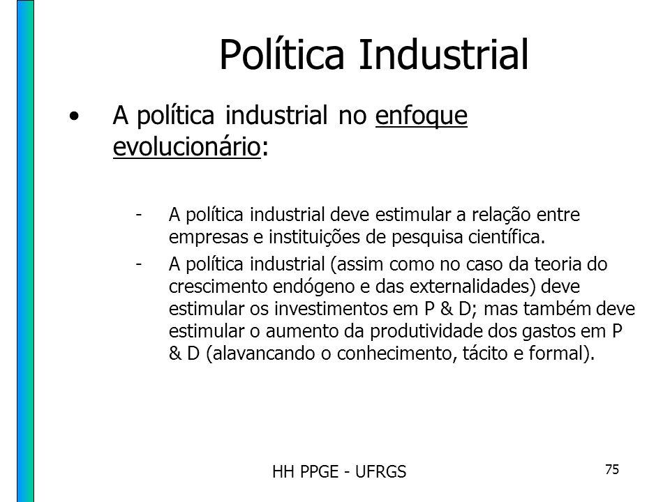 HH PPGE - UFRGS 75 Política Industrial A política industrial no enfoque evolucionário: -A política industrial deve estimular a relação entre empresas e instituições de pesquisa científica.