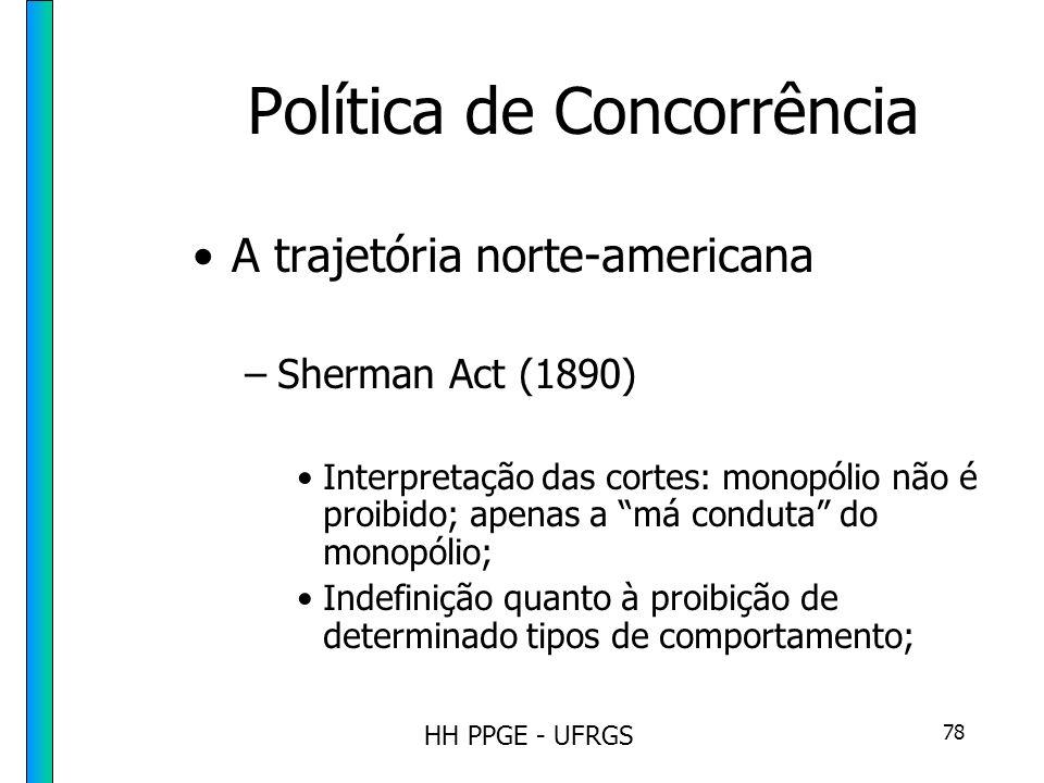 HH PPGE - UFRGS 78 Política de Concorrência A trajetória norte-americana –Sherman Act (1890) Interpretação das cortes: monopólio não é proibido; apenas a má conduta do monopólio; Indefinição quanto à proibição de determinado tipos de comportamento;