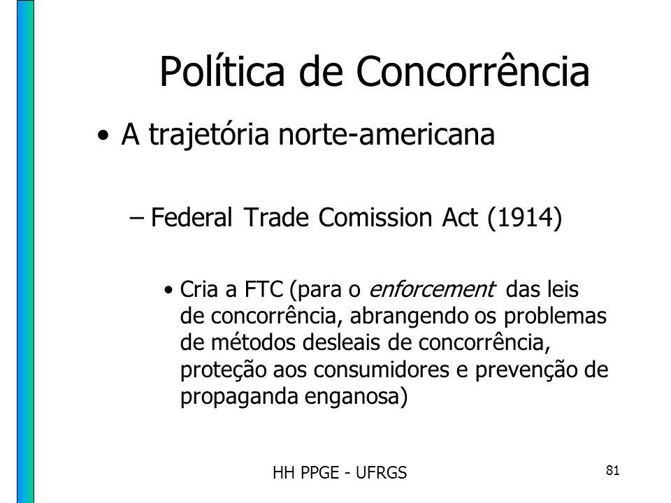 HH PPGE - UFRGS 81 Política de Concorrência A trajetória norte-americana –Federal Trade Comission Act (1914) Cria a FTC (para o enforcement das leis de concorrência, abrangendo os problemas de métodos desleais de concorrência, proteção aos consumidores e prevenção de propaganda enganosa)