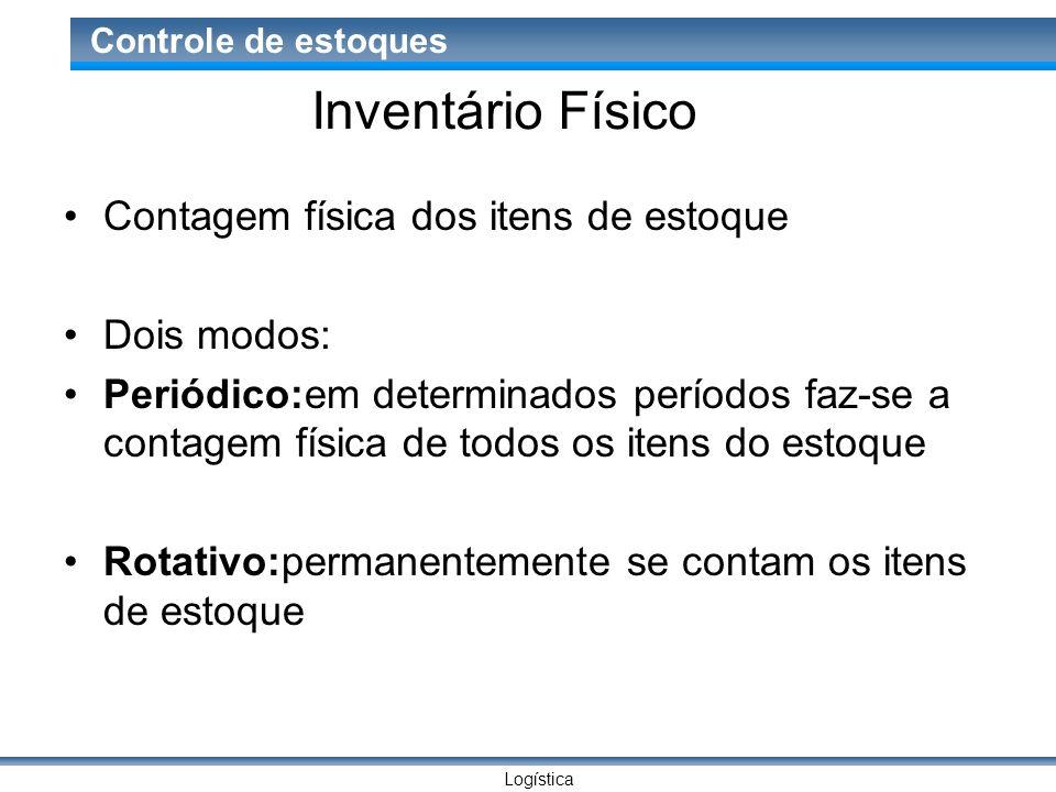 Logística Controle de estoques Inventário Físico Contagem física dos itens de estoque Dois modos: Periódico:em determinados períodos faz-se a contagem