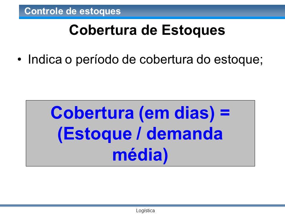 Logística Controle de estoques Cobertura de Estoques Indica o período de cobertura do estoque; Cobertura (em dias) = (Estoque / demanda média)