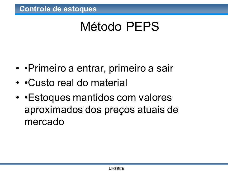 Logística Controle de estoques Método PEPS Primeiro a entrar, primeiro a sair Custo real do material Estoques mantidos com valores aproximados dos pre