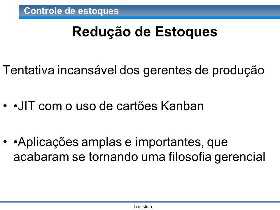 Logística Controle de estoques Redução de Estoques Tentativa incansável dos gerentes de produção JIT com o uso de cartões Kanban Aplicações amplas e i