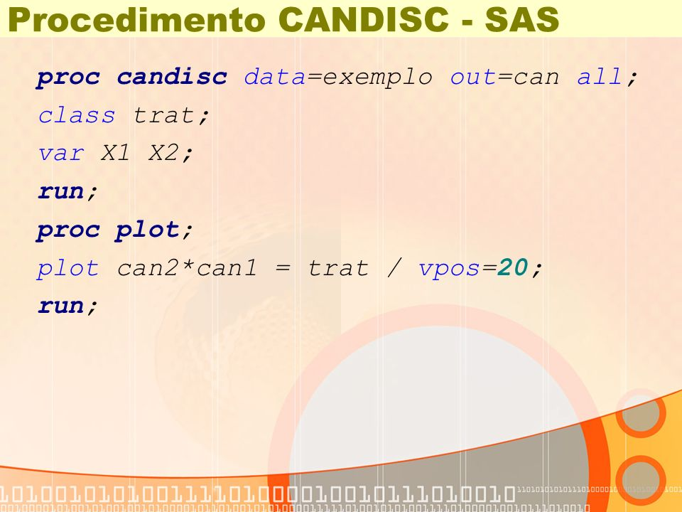 Procedimento CANDISC - SAS proc candisc data=exemplo out=can all; class trat; var X1 X2; run; proc plot; plot can2*can1 = trat / vpos=20; run;