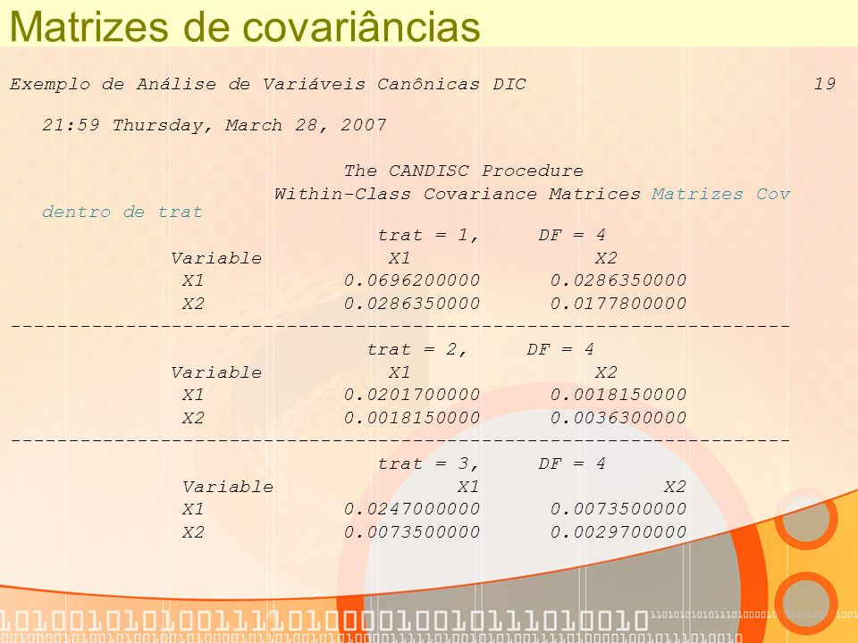 Matrizes de covariâncias Exemplo de Análise de Variáveis Canônicas DIC 19 21:59 Thursday, March 28, 2007 The CANDISC Procedure Within-Class Covariance