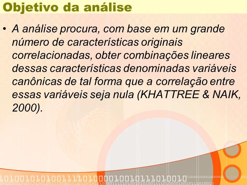 Proporção acumulada de variância Likelihood Approximate Eigenvalue Difference Proportion Cumulative Ratio F Value Num DF Den DF Pr > F 1 22.6963 22.3536 0.9851 0.0314 25.52 4 22 <.0001 2 0.3427 0.0149 1.0000 0.7447 4.11 1 12 0.0654