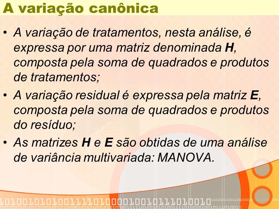 A variação canônica A variação de tratamentos, nesta análise, é expressa por uma matriz denominada H, composta pela soma de quadrados e produtos de tr