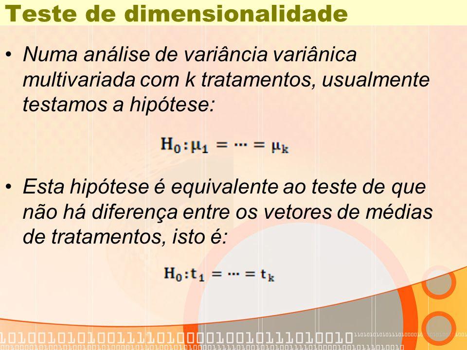 Teste de dimensionalidade Numa análise de variância variânica multivariada com k tratamentos, usualmente testamos a hipótese: Esta hipótese é equivale