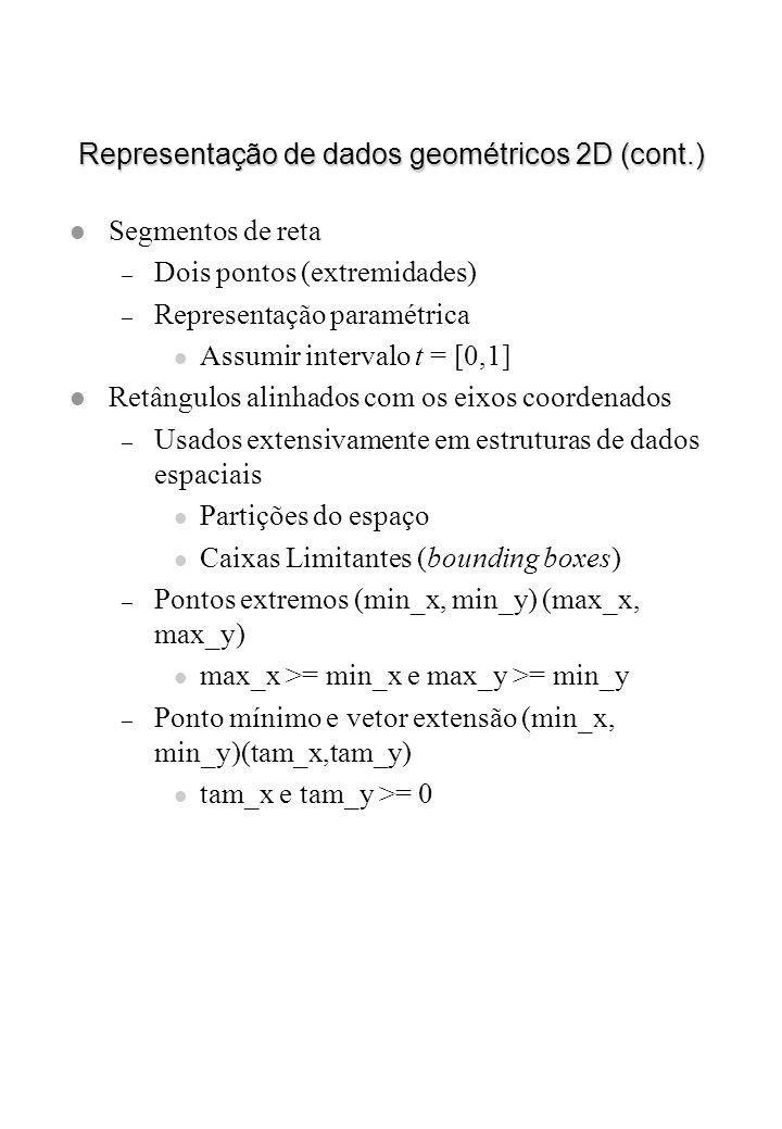 Representação de dados geométricos 2D (cont.) l Segmentos de reta – Dois pontos (extremidades) – Representação paramétrica l Assumir intervalo t = [0,