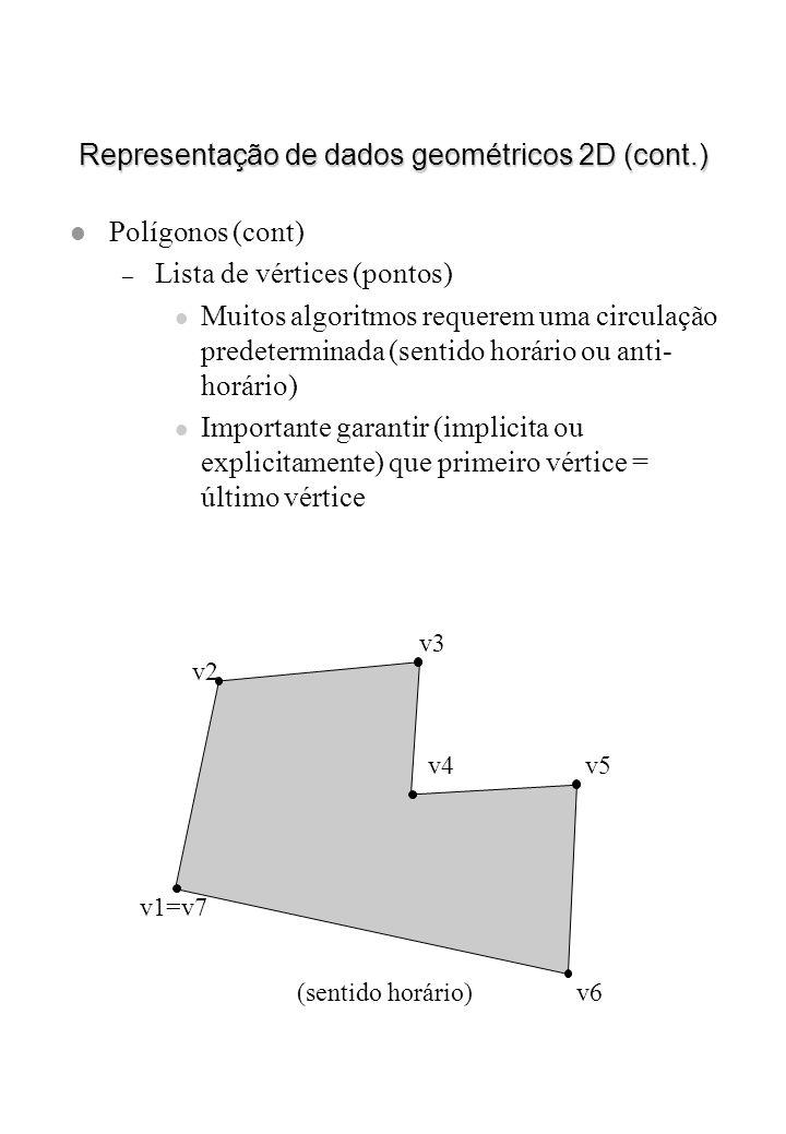 Representação de dados geométricos 2D (cont.) l Polígonos (cont) – Lista de vértices (pontos) l Muitos algoritmos requerem uma circulação predetermina