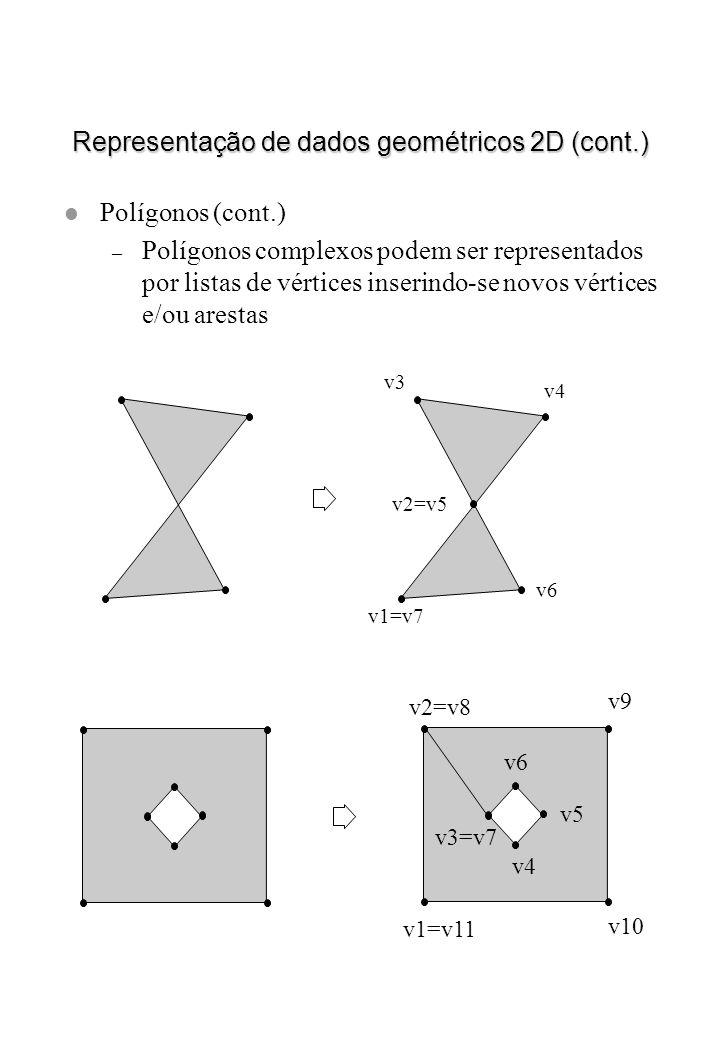 Representação de dados geométricos 2D (cont.) l Polígonos (cont.) – Polígonos complexos podem ser representados por listas de vértices inserindo-se no