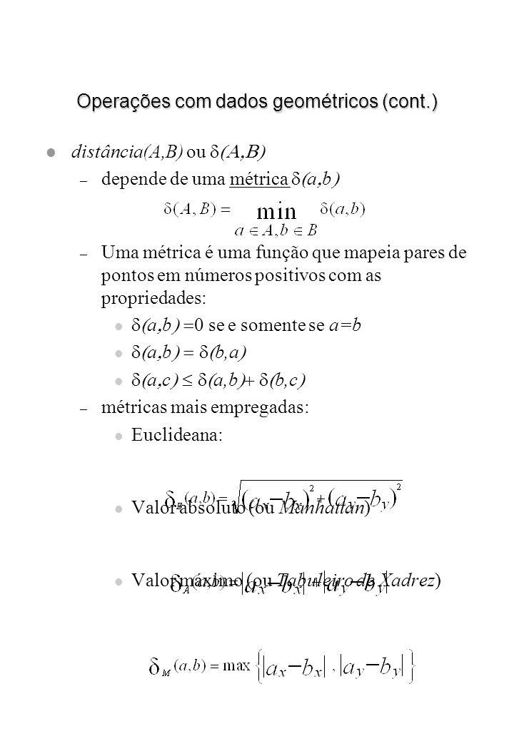 Operações com dados geométricos (cont.) distância(A,B) ou – depende de uma métrica a b – Uma métrica é uma função que mapeia pares de pontos em número