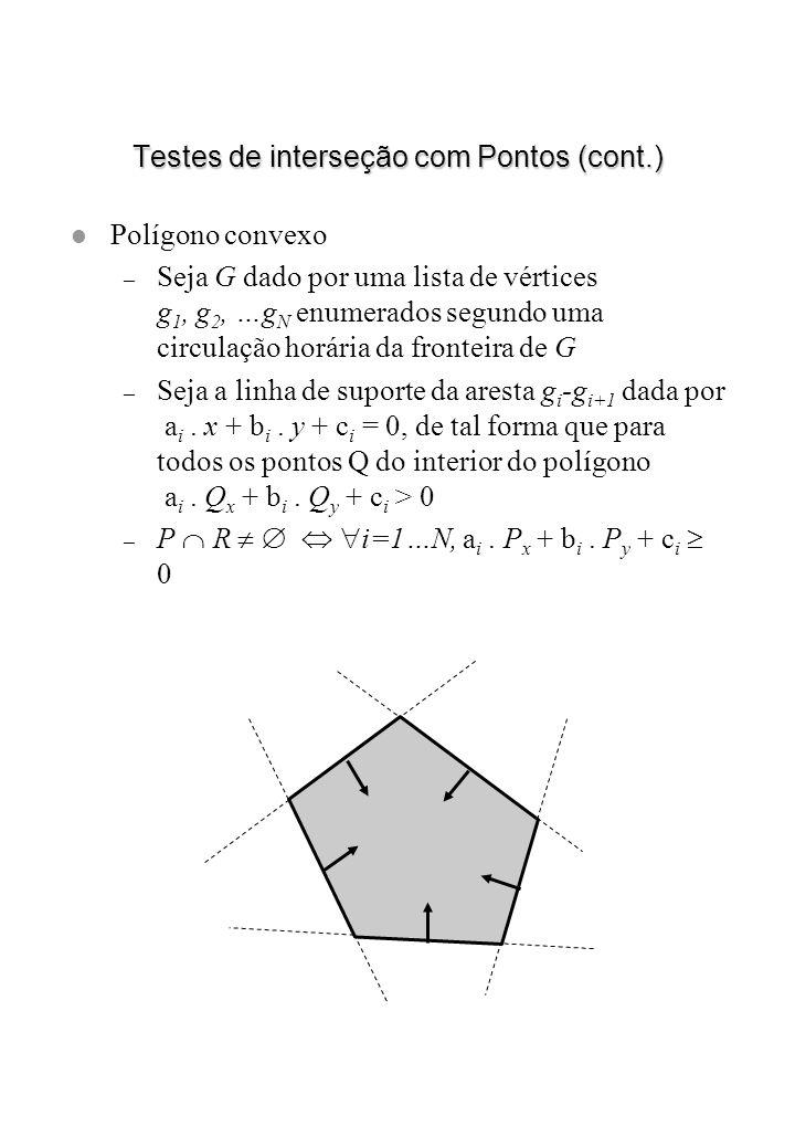 Testes de interseção com Pontos (cont.) l Polígono convexo – Seja G dado por uma lista de vértices g 1, g 2, …g N enumerados segundo uma circulação ho