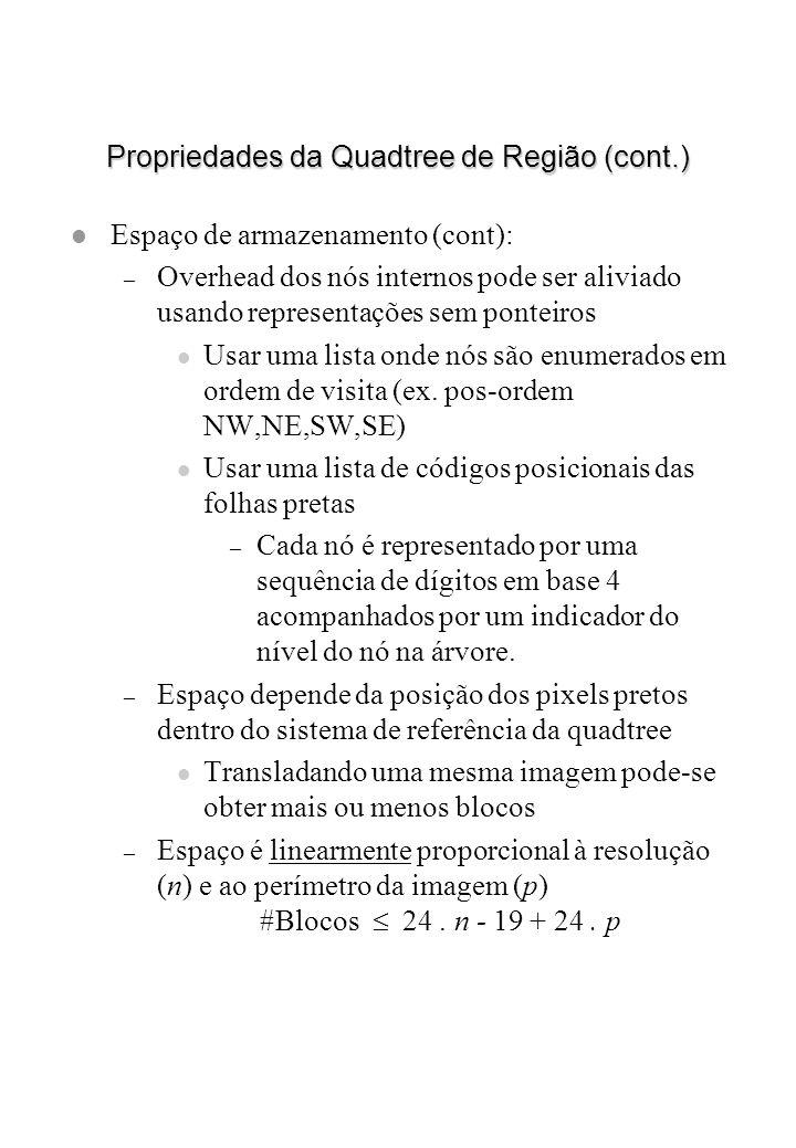 Propriedades da Quadtree de Região (cont.) l Espaço de armazenamento (cont): – Overhead dos nós internos pode ser aliviado usando representações sem p