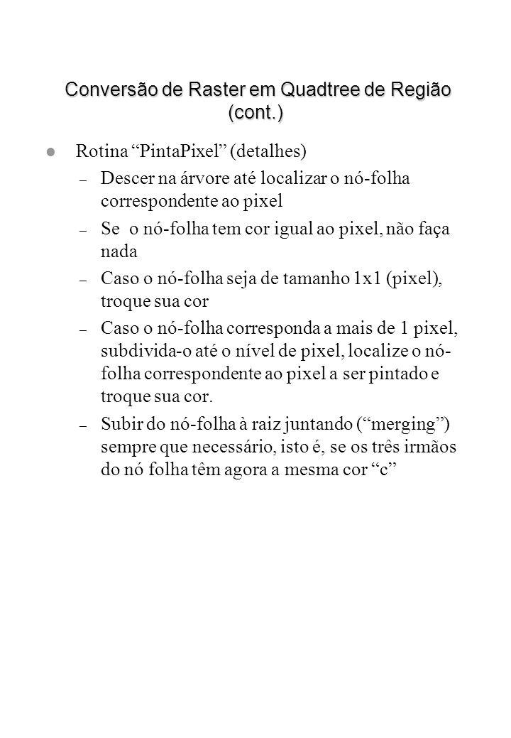 Conversão de Raster em Quadtree de Região (cont.) Conversão de Raster em Quadtree de Região (cont.) l Rotina PintaPixel (detalhes) – Descer na árvore