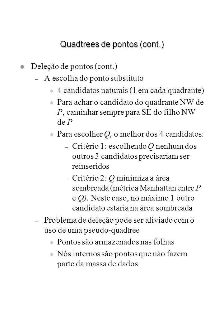 Quadtrees de pontos (cont.) l Deleção de pontos (cont.) – A escolha do ponto substituto l 4 candidatos naturais (1 em cada quadrante) l Para achar o c