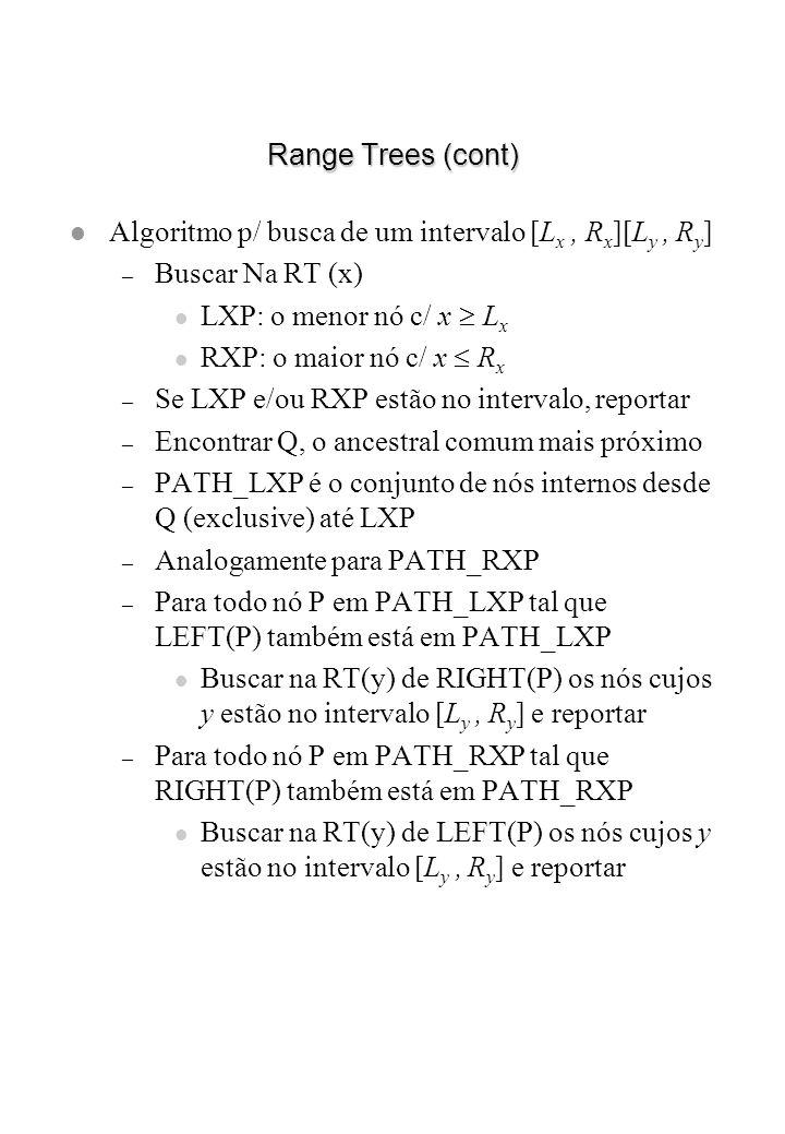 Range Trees (cont) l Algoritmo p/ busca de um intervalo [L x, R x ][L y, R y ] – Buscar Na RT (x) LXP: o menor nó c/ x L x RXP: o maior nó c/ x R x –