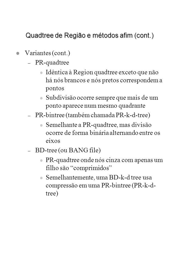 Quadtree de Região e métodos afim (cont.) l Variantes (cont.) – PR-quadtree l Idêntica à Region quadtree exceto que não há nós brancos e nós pretos co