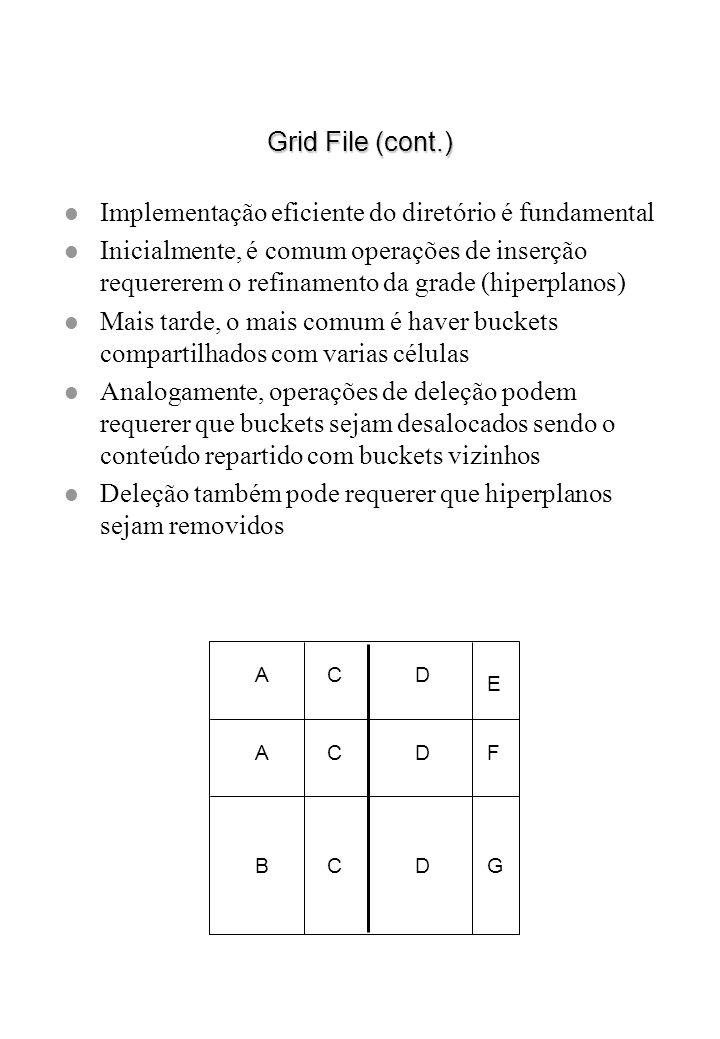 Grid File (cont.) l Implementação eficiente do diretório é fundamental l Inicialmente, é comum operações de inserção requererem o refinamento da grade
