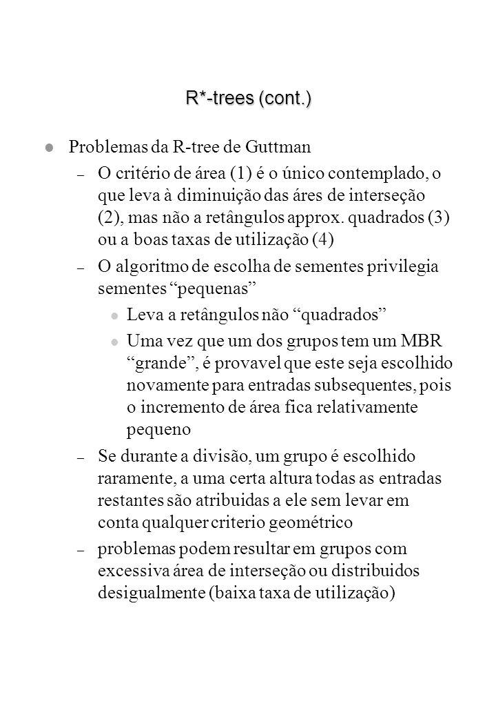 R*-trees (cont.) l Problemas da R-tree de Guttman – O critério de área (1) é o único contemplado, o que leva à diminuição das áres de interseção (2),